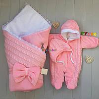 """Набор для выписки и прогулок """"Дует"""" (Конверт+комбинезон с капюшоном+шапочка) розовый"""