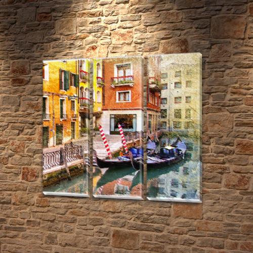 Модульная картина Яркая Венеция  на Холсте, 95x95 см, (95x30-3)
