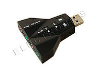 Внешняя двухканальная USB звуковая карта 7.1 3D