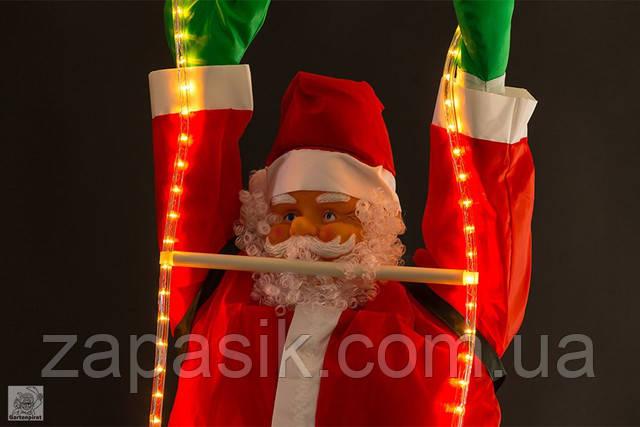 Новогодняя Игрушка Светящиеся Подвесные Santa Claus Декор для Дома Санта Клаусы с Мешком Лезут по Лестнице 35 см