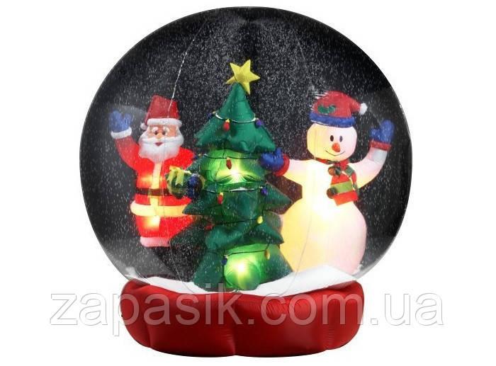 Новогодняя Надувная Фигура Снежный Шар Дед Мороз Снеговик Елка 60 см для Атмосферы Нового Года Рождества