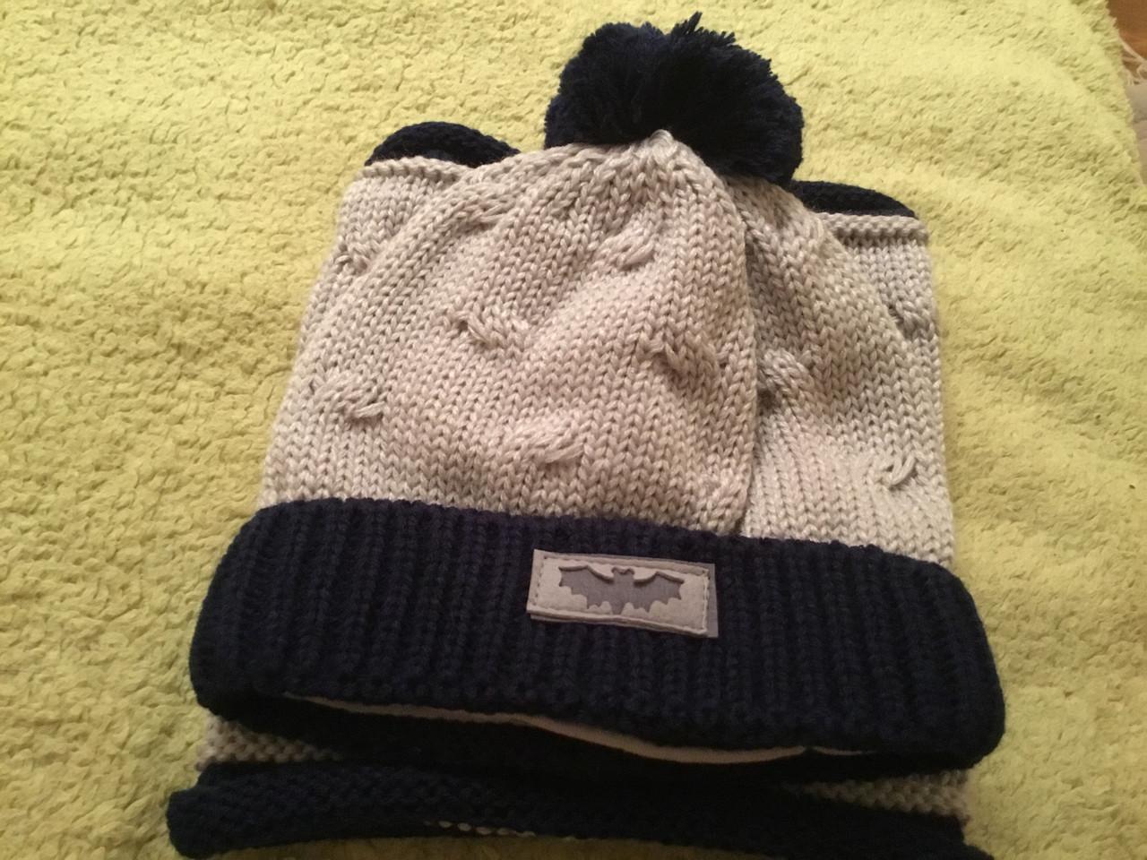 Зимняя вязаная шапочка с хомутом