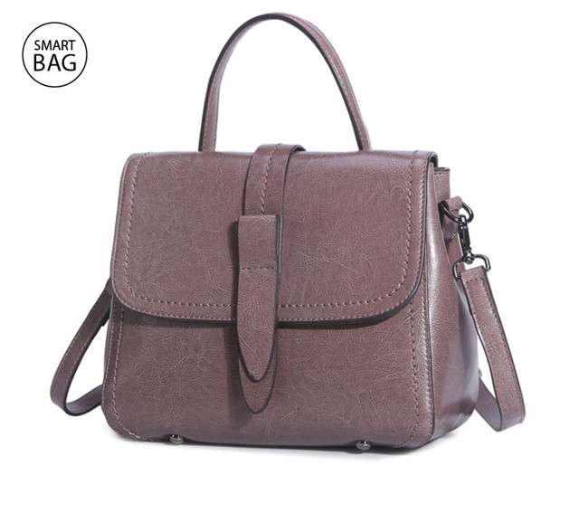 Классическая женская кожаная сумка на плечо   пурпурный