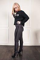 Коричневые женские брюки Тина с вставками по бокам, фото 1