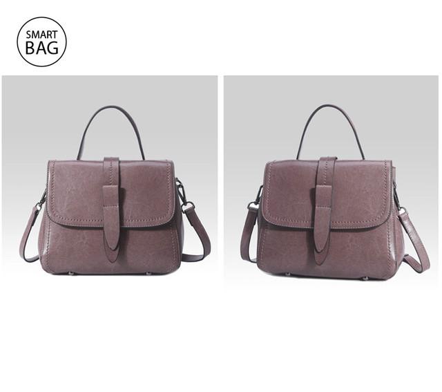 Классическая женская кожаная сумка на плечо   пурпурная