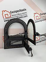 Дверцы печные со стеклом 460х560 «ARTIK» латунный Чугунные дверцы для печи кухни барбекю, фото 3