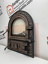 Дверцы печные со стеклом 460х560 «ARTIK» латунный Чугунные дверцы для печи кухни барбекю, фото 2
