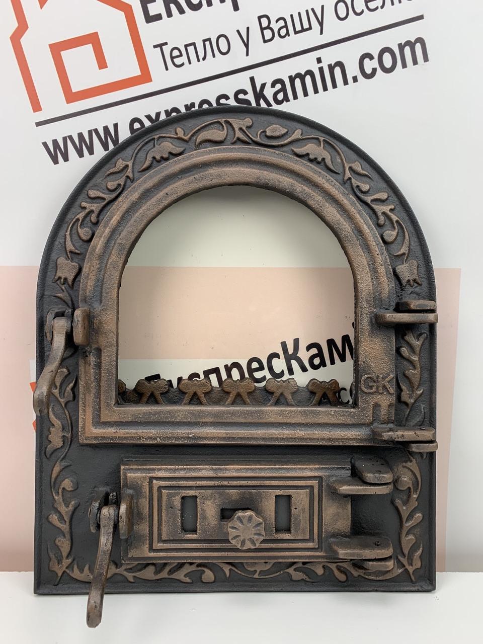 Дверцы печные со стеклом 460х560 «ARTIK» латунный Чугунные дверцы для печи кухни барбекю