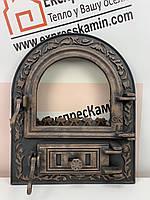 Дверцы печные со стеклом 460х560 «Артик» латунный Чугунные дверцы для печи кухни барбекю