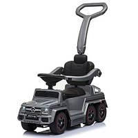 Детский электромобиль каталка-толокар Машина 2 в 1 «Mercedes-Вenz» двухместный, сиденье кожа, MP3