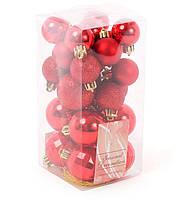 Набор елочных шаров микс, цвет - красный, 26 шт в наборе, диаметр 3см, 4 см