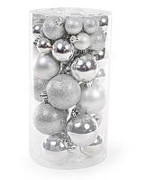 Набор елочных шаров, цвет - серебро, 40 шт - 6см, 5см ,4см ,3см