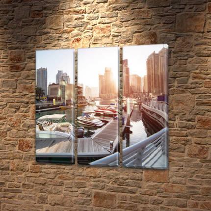 Картина модульная У причала на Холсте, 95x95 см, (95x30-3), фото 2