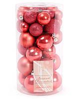 Набор елочных шаров, цвет - клубника, 40шт - 6см, 5см, 4см, 3см диаметр шара