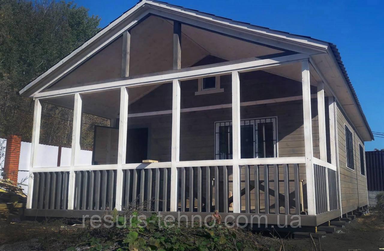 Дачный домик 8м х 6м с террассой. Фальшбрус