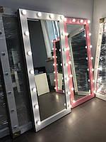 Макияжное зеркало, настенное зеркало с лампами, в раме - 800×1800 мм
