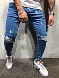 😝 Джинси - Сині рвані чоловічі джинси В23981, фото 3