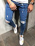 😝 Джинси - Сині рвані чоловічі джинси В23981, фото 2