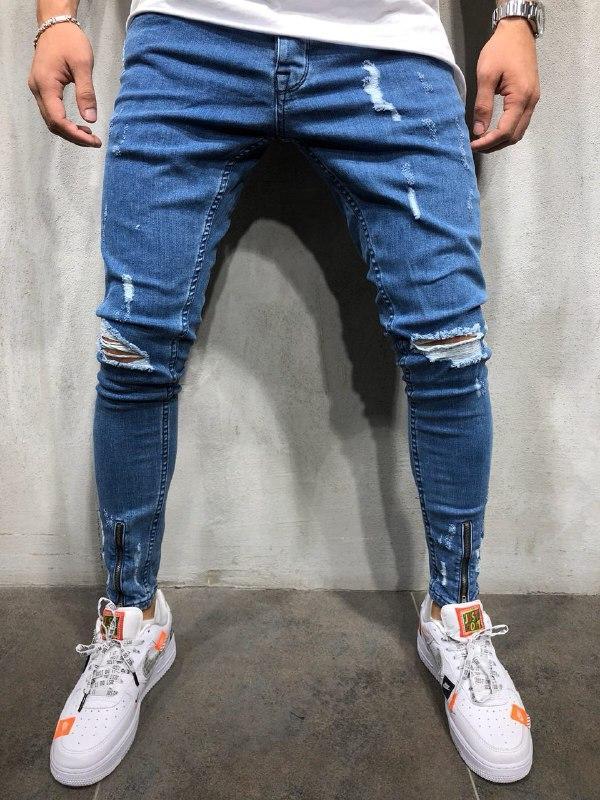 😝 Джинси - Сині рвані чоловічі джинси В23981