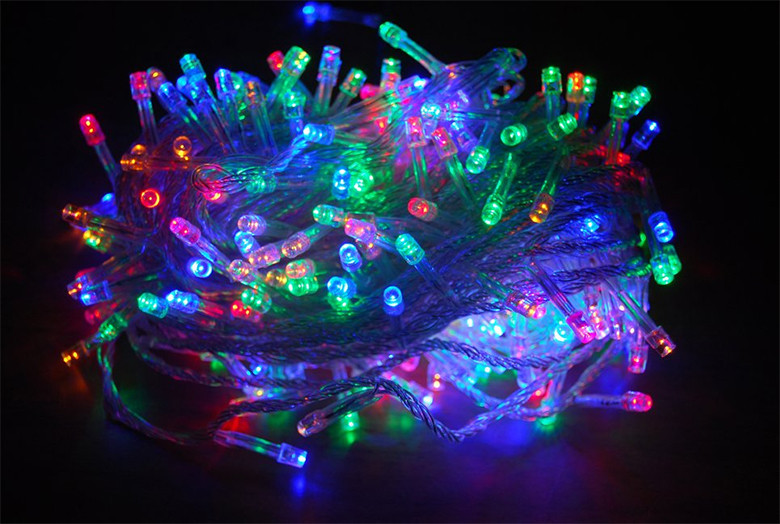Гирлянда LED разноцветная 300 ламп Длина 16м на прозрачном проводе