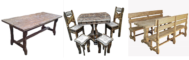 Столи, комплект в стилі ретро