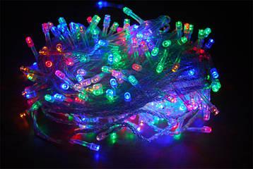 Гирлянда LED разноцветная 500 ламп Длина 23м на прозрачном проводе