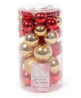 Набор елочных шаров, цвет - золото с красным, 40шт - 6см, 5см ,4см, 3см разный диаметр в наборе