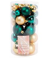 Набор елочных шаров, микс цветов - изумрудный зеленый и яркое золото, 40 шт- 6см, 5см ,4см, 3см разный диаметр