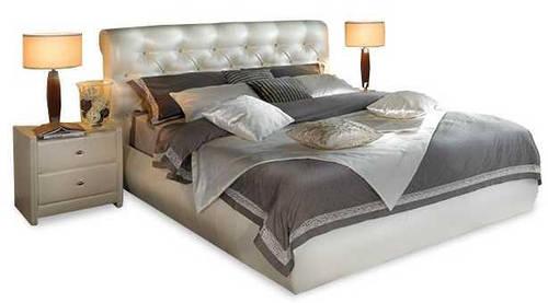 Ліжко з м'якою спинкою з підйомним механізмом Кароліна (160 х 200) КІМ