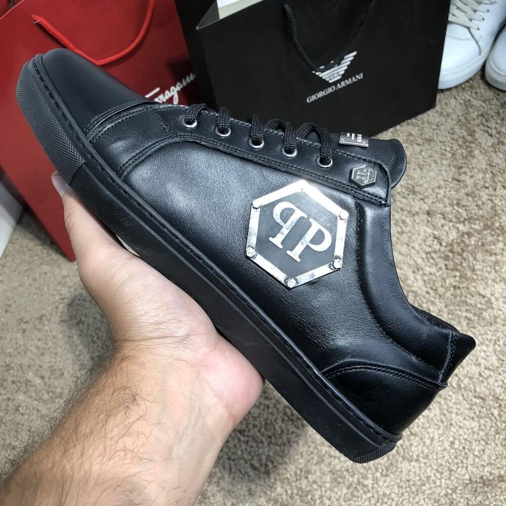 Мужские кроссовки Philipp Plein Lo-Top Sneakers Hexagonal Black