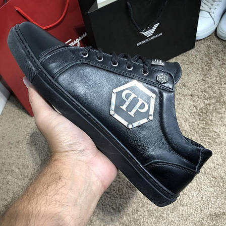 Мужские кроссовки Philipp Plein Lo-Top Sneakers Hexagonal Black, фото 2