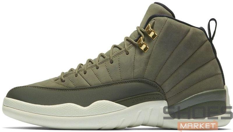 Мужские кроссовки Nike Air Jordan 12 Retro Olive Canvas, Найк Аир Джордан 12