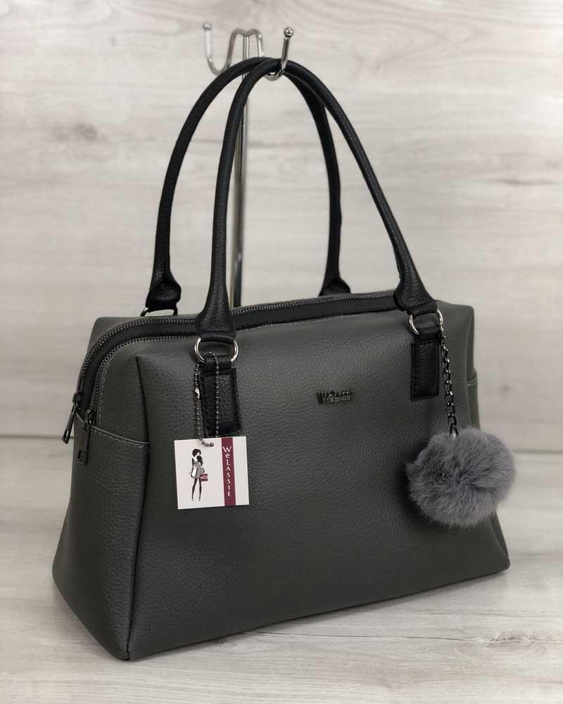 Женская сумка с пушком из кролика