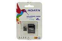 Карта памяти ADATA 4Gb +адаптер Class 4
