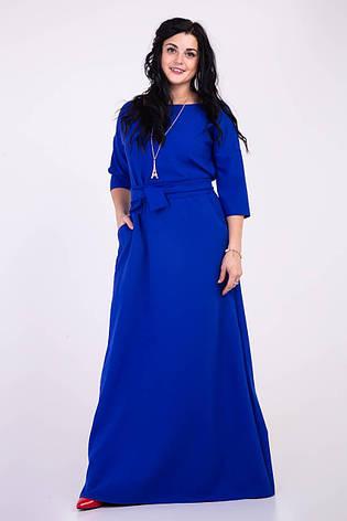 Длинное однотонное синее платье , фото 2