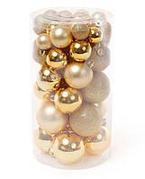 Набор елочных шаров, цвет - яркое золото, 40шт - 6см, 5см ,4см, 3см диаметр шаров в наботе