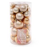 Набор елочных шаров, цвет - светлое золото, 40шт - 6см, 5см ,4см, 3см: 5шт- матовый, 5шт - перламутр для каждо