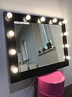 Зеркало для салонов красоты, зеркало гримерное 1000х800 мм, на ДСП, черная корка. Гримерное зеркало. Мебель.
