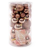 Набор елочных шаров, цвет - карамельный мокко, 40 шт - 6см, 5см ,4см, 3см диаметр шаров в наборе