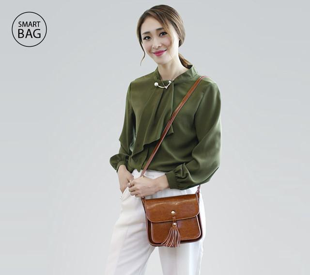 Небольшая женская кожаная сумочка | коричневая