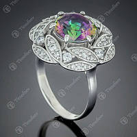 Серебряное кольцо с золотом и Мистическим Альпинитом Роза