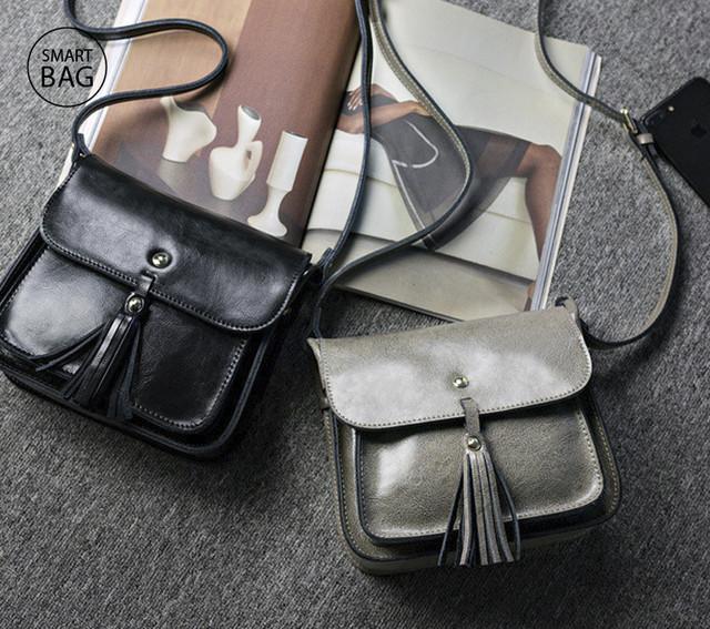 Небольшая женская кожаная сумочка | черная + серая