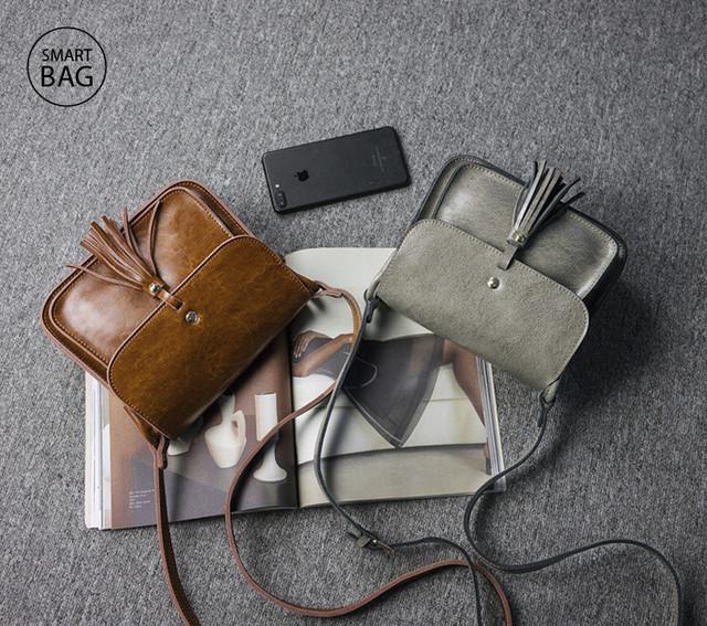Небольшая женская кожаная сумочка | серая + коричневая