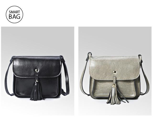 Небольшая женская кожаная сумочка | серая + черная