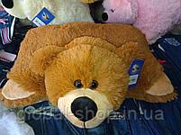 Подушка мягкая игрушка на липучке Мишка  медведь трансформер 2 в 1 ,размеры 43*43, фото 4