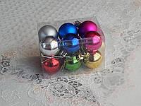 Новогодние шары на елку 4см разные цвета