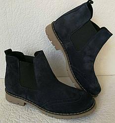 15450a30a8fa36 Жіночі сині черевики з натуральної замші в стилі Timberland, якісна  репліка, демісезон