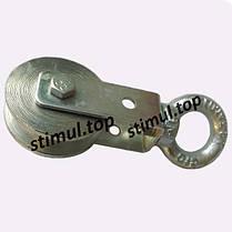 Блок монтажный Ø 65 мм стальной с подшипником / строительный блок для подъема груза, фото 3