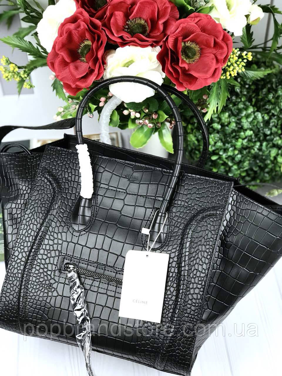 5abd5d4fd1d2 Брендовая женская сумка Celine Fantom натуральная кожа под крокодила  (реплика) - Pop Brand Store