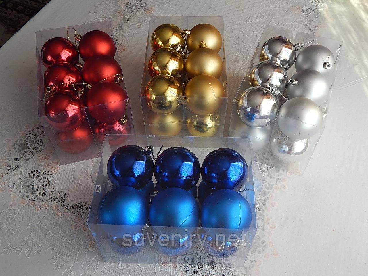 Елочные украшения шары на елку 6см 2в1 разные цвета
